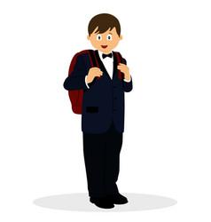 A boy in a suit schoolboy with a schoolbag vector