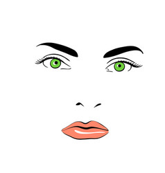 A woman s face green-eyed calm vector