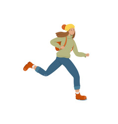 A young female student runs holding a backpack vector