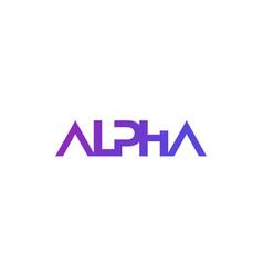 Alpha logo in minimal design vector