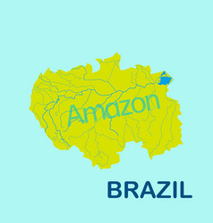 Amazon river map yellow color on blue background vector