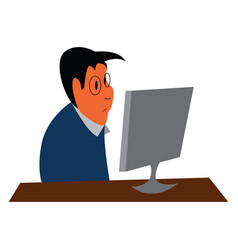 an office worker working in his office is seated vector image