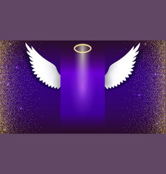 Angel wings with golden halo hovering on the dark vector