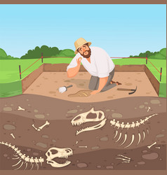 Archaeology character man discovery underground vector
