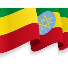Background with waving Ethiopian Flag vector image