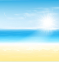 Beach and tropical sea with sun summer landscape vector