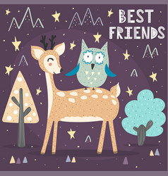 best friends card with a cute deer and owl vector image