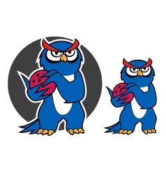 Blue owl character with bowling ball vector image