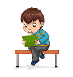 boy sitting in bench playing vector image