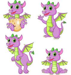 Cartoon dragons collection set vector