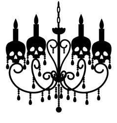 Chandelier with skulls vector