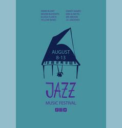 Colorful jazz poster with cartoon piano vector