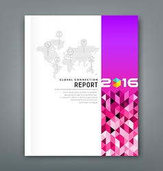 Cover annual report world map connections vector