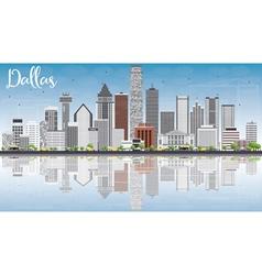 Dallas Skyline with Gray Buildings Blue Sky vector image