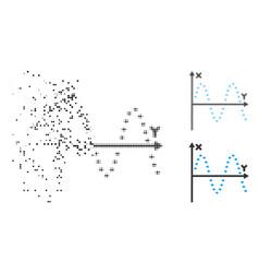 damaged pixelated halftone dotted sine plot icon vector image