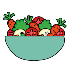 Dish bowl with vegetables salad vector