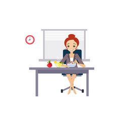 eating at work daily routine activities of women vector image