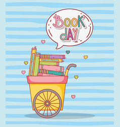 Education books inside cart with chat bubble vector
