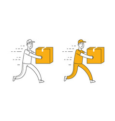 fast delivery symbol courier runs with box vector image