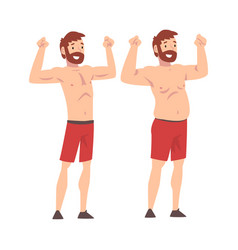 Fat and slim man bearded man before and after vector