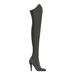Female jackboot on thin stiletto made of black vector