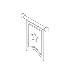 Flag medieval banner icon isometric 3d vector