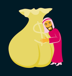 Flat icon on theme arabic business muslim and bag vector