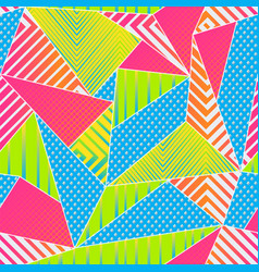 funky color triangle seamless pattern vector image
