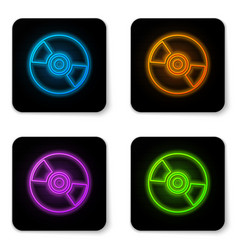 glowing neon cd or dvd disk icon isolated on vector image