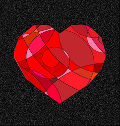 gray and red heart vector image
