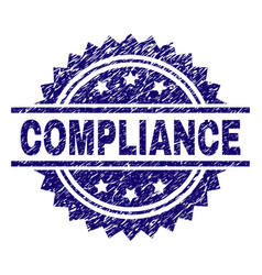 Grunge textured compliance stamp seal vector