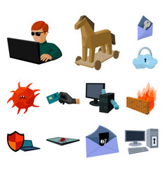 hacker and hacking cartoon icons in set collection vector image
