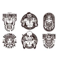 Halloween party vintage emblems vector