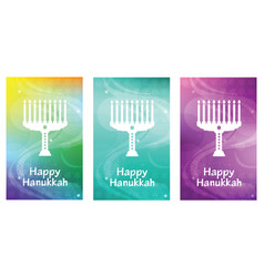 happy hanukkah greeting card with lettering and vector image