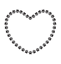 heart shaped frame made of paw prints vector image