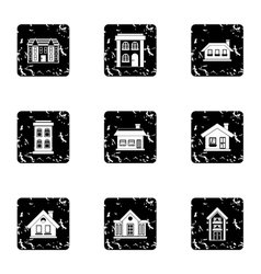 House icons set grunge style vector