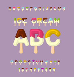Ice cream abc popsicle alphabet cold sweets font vector