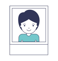 Identification photo of guy with short hair in vector