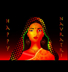 indian ethnic woman dancer for happy navratri vector image