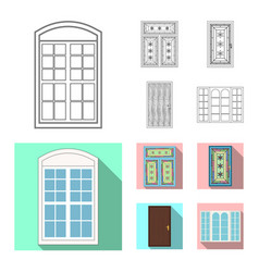 isolated object of door and front logo set of vector image