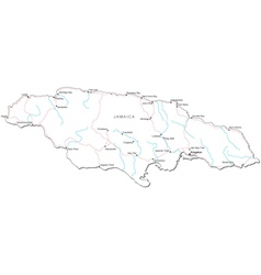 Jamaica Black White Map vector image