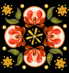 khokhloma russian pattern on a circle vector image
