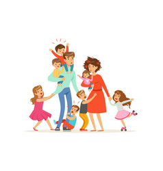 large family with many children kids babies and vector image