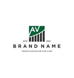 Letter av chart financial logo design vector