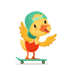 Little yellow duck chick in blue cap skateboarding vector
