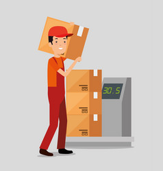 logistic services with delivery worker vector image