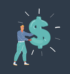 man holding big dollar vector image