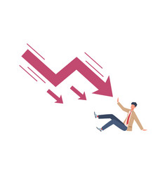 Man try stopping falling arrow unpaid loan vector