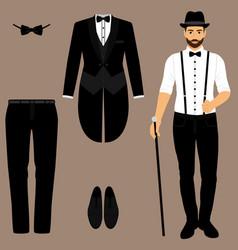 Men s tuxedo gentleman men s accessories vector