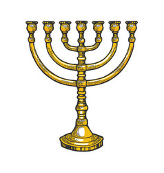 Menorah hebrew symbol color sketch vector